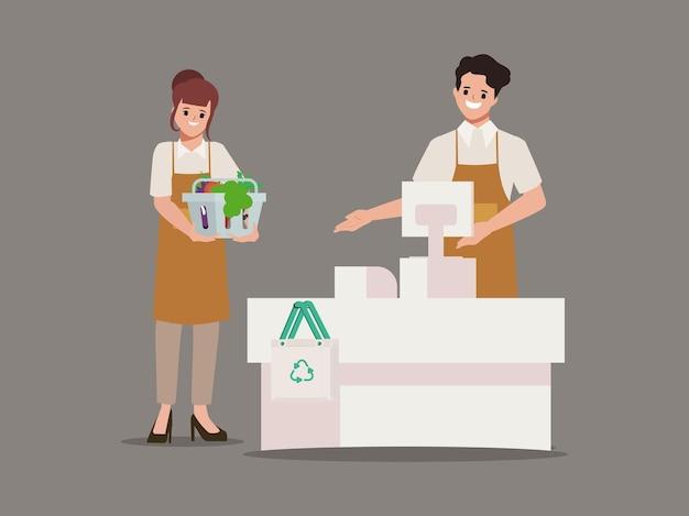 식료품 쇼핑의 직원 캐릭터와 백화점 슈퍼마켓의 고객 서비스