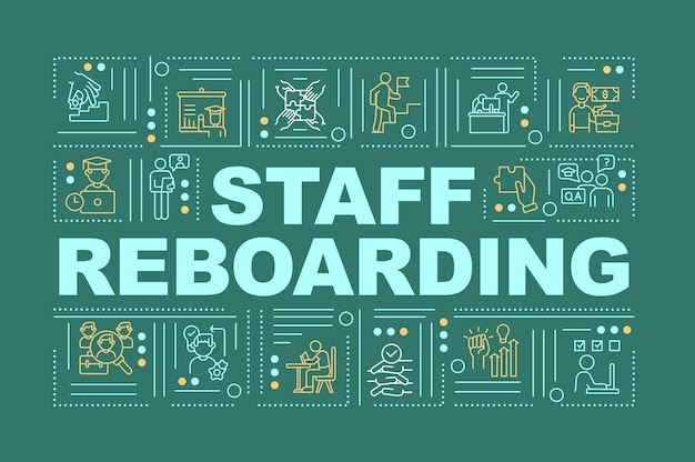 Staff reboarding word concepts banner. workers skills upgrading process. infographics with linear icons on green background. isolated typography.  outline rgb color illustration