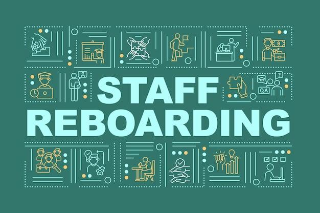 スタッフのリボーディングワードコンセプトバナー。労働者のスキルのアップグレードプロセス。緑の背景に線形アイコンとインフォグラフィック。孤立したタイポグラフィ。アウトラインrgbカラーイラスト