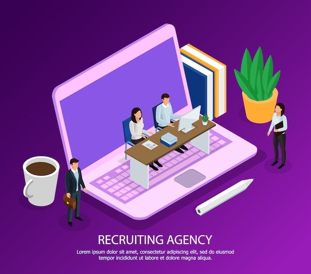 Staff of recruiting agency with computer and candidates for employment isometric composition on purple