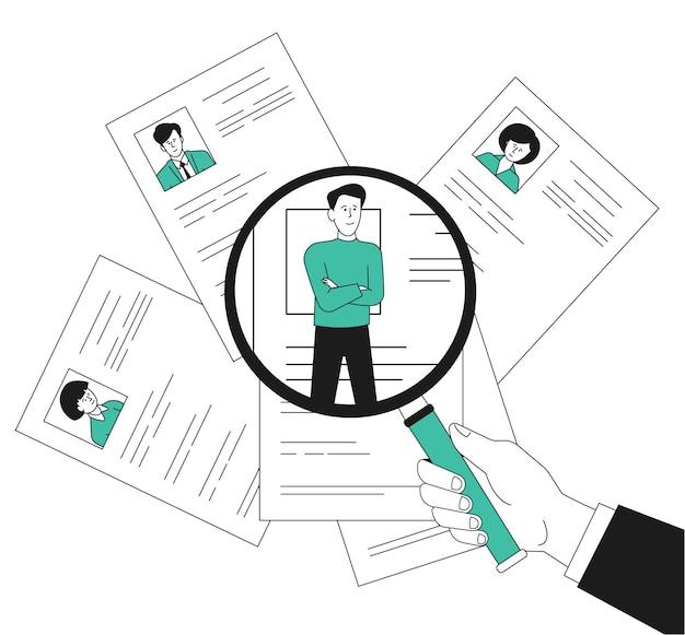 직원 모집. 돋보기로 직원을 바라보는 hr, 인간 관리자. 고용 비즈니스 팀, 사람들이 이력서 또는 이력서. 검색 작업 최근 벡터 개념입니다. 일러스트 선택 리소스, 직원 모집