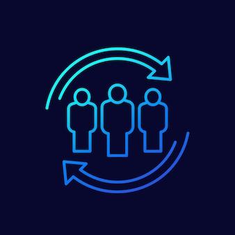 Staff rotation, hr icon, line design