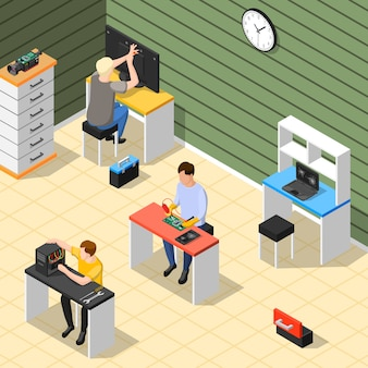 Staff in service centre isometric composition