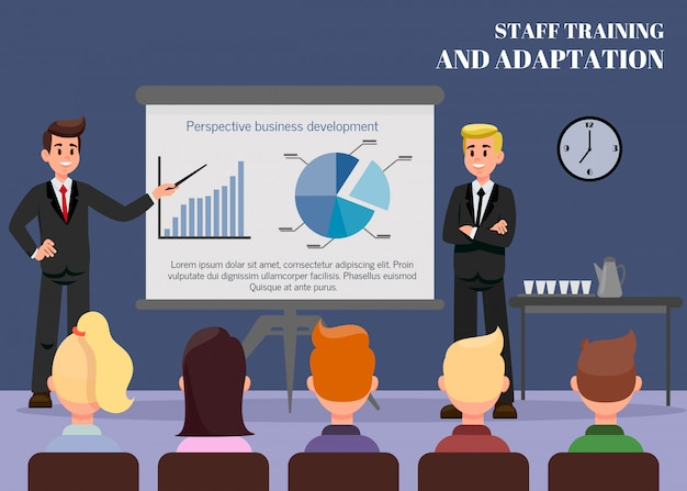 Staff training flat vector web banner with text