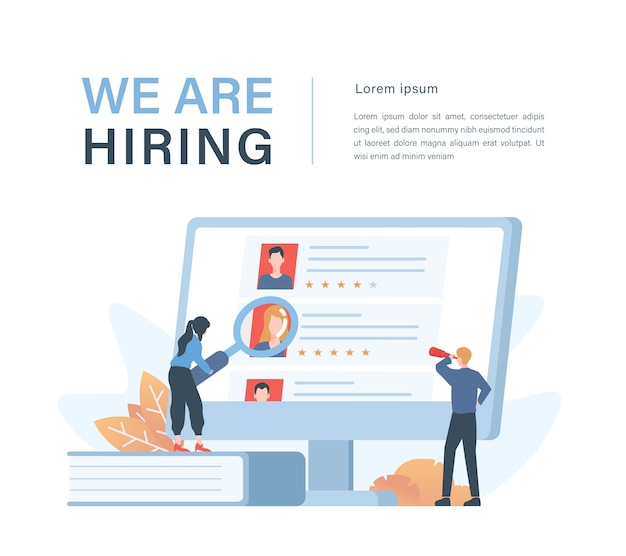 Staffing and recruiting business concept with illustration of corporate recruiters choosing employee candidates