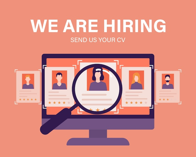 Staffing and recruiting business concept with magnifying glass and employee candidates illustration