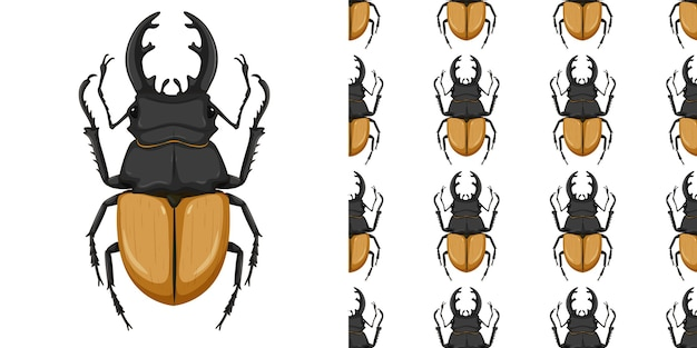 Stag beetle isolated on white background and seamless