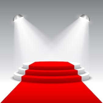 Stage for awards ceremony with searchlights. white round podium with red carpet. pedestal. scene.  illustration.
