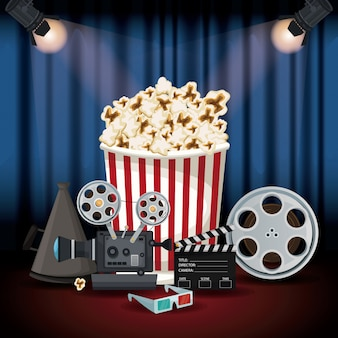Stage cinema curtain with spotlights and elements film movie