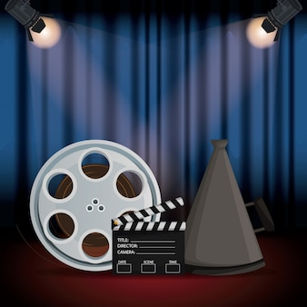 Stage cinema curtain with spotlights film reel and megaphone and clapperboard