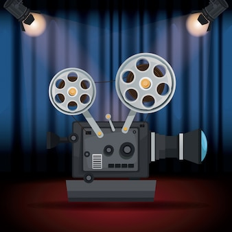 Stage cinema curtain with spotlights and movie film projector