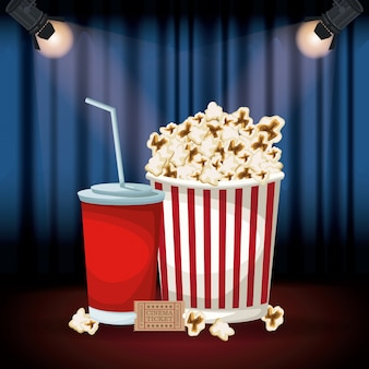 Stage cinema curtain with spotlights and popcorn pack and soda