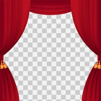 古典的な赤いカーテンとテンプレートショー時間のステージカーテン