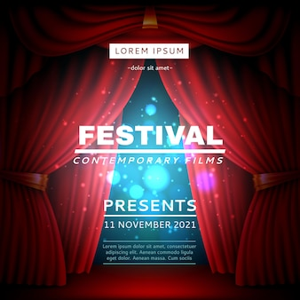 Stage curtain poster. festival opening banner with realistic red heavy theatrical veils, light spot and effects, cinema movies event on scene vector concept