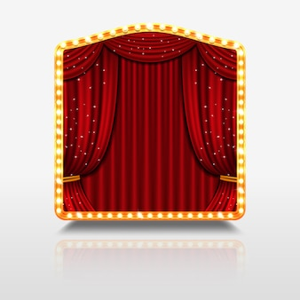 Stage curtain in shining banner with golden frame illustration