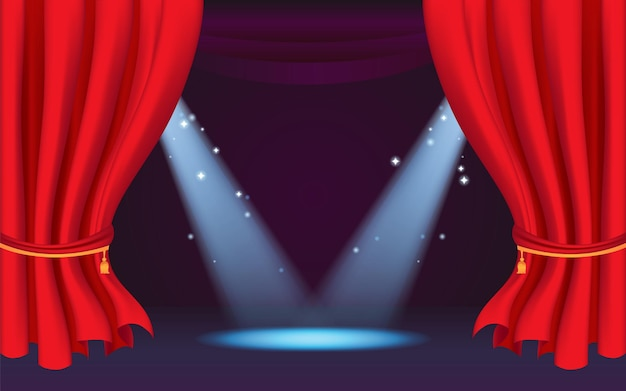 Stage curtain for template with spotlight show time with classic red curtain
