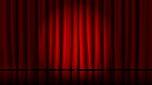 Stage curtains light by searchlight. realistic theater red dramatic curtains, spotlight on stage theatrical classic drapery  template illustration. circus and movie hall, standup interior scene