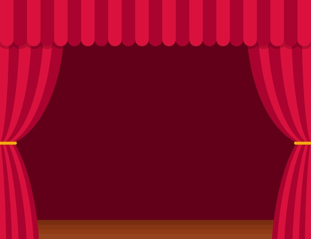 Stage curtains with brown wooden floor in flat style. theater