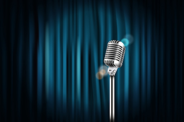 Stage curtains with shining microphone