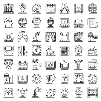 Stage director icons set, outline style