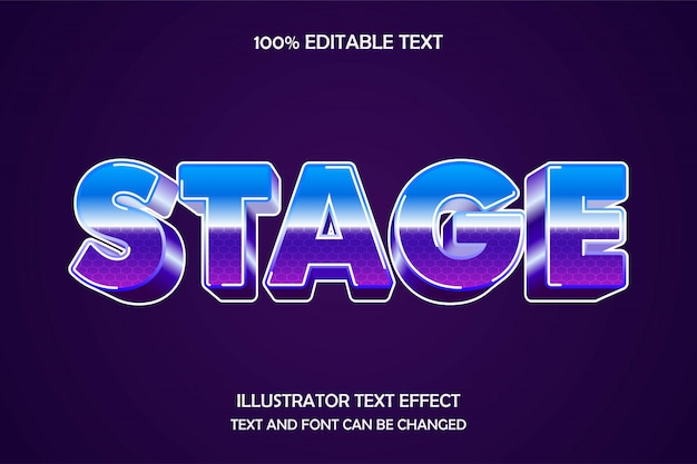 Stage, editable text effect modern 80s style