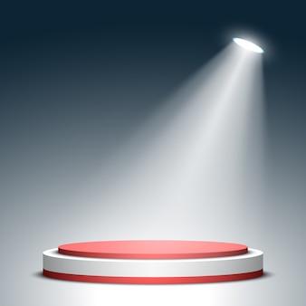 Сцена для церемонии награждения. красно-белый круглый подиум. пьедестал. место действия. прожектор. ,