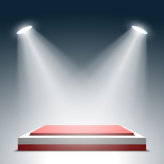 Сцена для церемонии награждения. красно-белый квадратный подиум. пьедестал. место действия. прожектор. ,