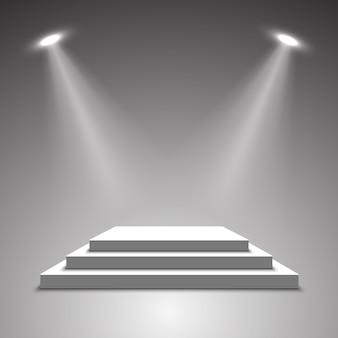 Сцена для церемонии награждения. белый подиум. пьедестал. место действия. иллюстрации.