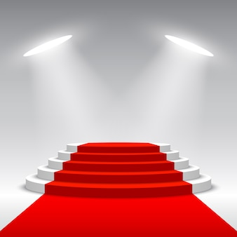授賞式のステージ。レッドカーペットと白い表彰台。ペデスタル。丸いシーン。図。