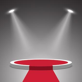 Сцена для церемонии награждения. белый подиум с красной ковровой дорожке. пьедестал. место действия. иллюстрации.