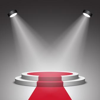 Сцена для церемонии награждения. белый подиум с красной ковровой дорожке. пьедестал. место действия. прожектор. ,
