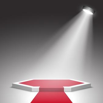 Сцена для церемонии награждения. белый подиум с красной ковровой дорожке с прожектором. пьедестал. место действия. ,