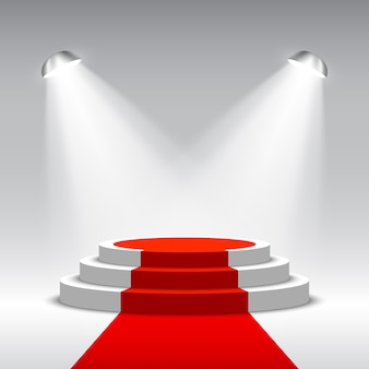Сцена для церемонии награждения с прожекторами. белый подиум с красной ковровой дорожке. пьедестал. место действия. иллюстрации.