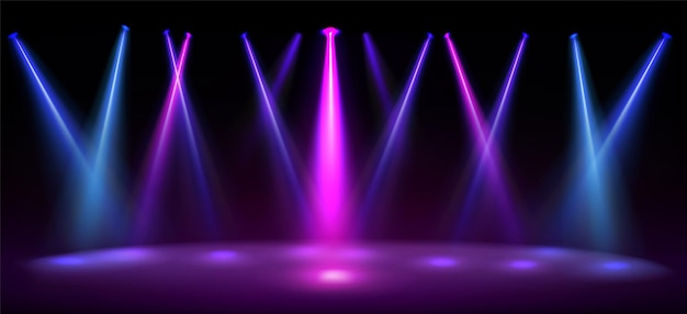 Stage illuminated by blue and pink spotlights empty scene with spots of light on floor  realistic illustration of studio theater or club interior with color beams of lamps