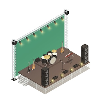 Stage isometric vector illustration