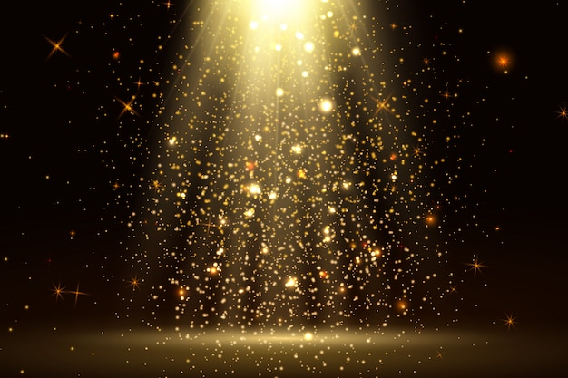 Stage light and golden glitter lights effect with gold rays, beams and falling glittering dust on floor. abstract gold background for display your product. shiny spotlight or stage.
