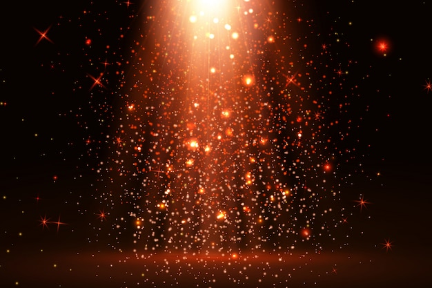 Stage light and red glitter lights effect with red rays, beams and falling glittering dust on floor.