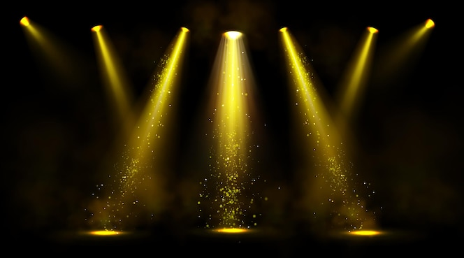 Сценические огни, золотые лучи прожекторов с дымом и блестками.