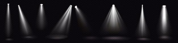 무대 조명, 흰색 스포트라이트 빔, 스튜디오 또는 극장 내부 장면을위한 빛나는 디자인 요소