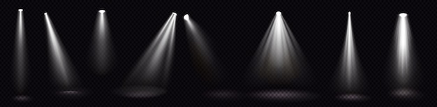 Stage lights, white spotlight beams, glowing design elements for studio or theater interior scene