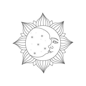 빈티지 조각 스타일의 달빛과 태양 활동의 무대