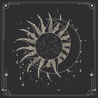 Этап лунной и солнечной активности в стиле винтажной гравюры