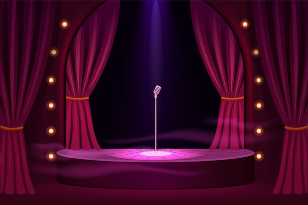 Stage for performances with microphone template