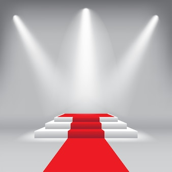 Stage podium award ceremony with red carpet and spotlight