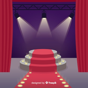 Stage podium background with lighting
