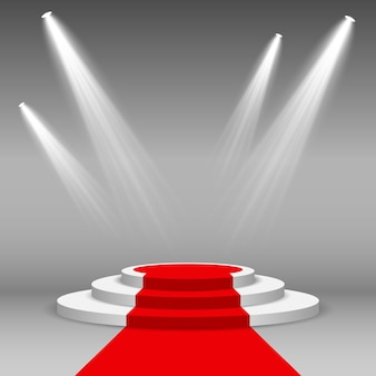 Stage podium illuminated scene spotlight with red carpet