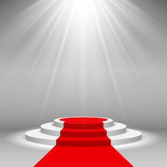 Stage podium illuminated scene spotlight with red carpet