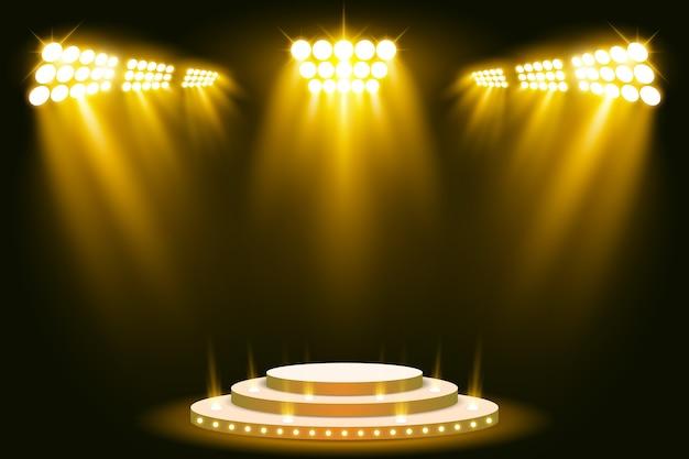 Stage podium illuminated scene spotlight