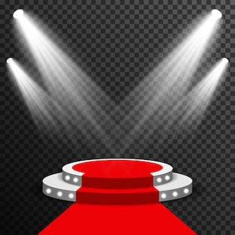 Stage podium illuminated with red carpet vector transparent