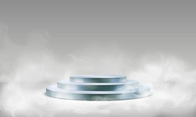 霧の中のステージ表彰台 Premiumベクター